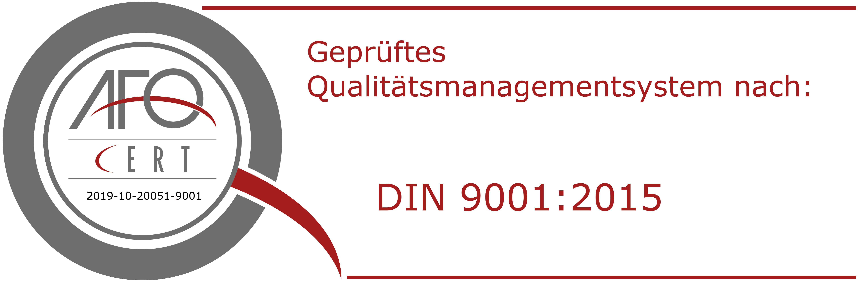 Zertfizierung nach DIN ISO 9001:2015